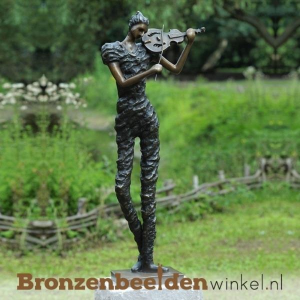 Bronzen violiste tuinbeeld BBW1811br