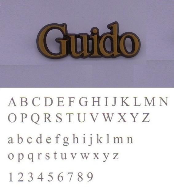 Bronskleurige aluminium letters Guido