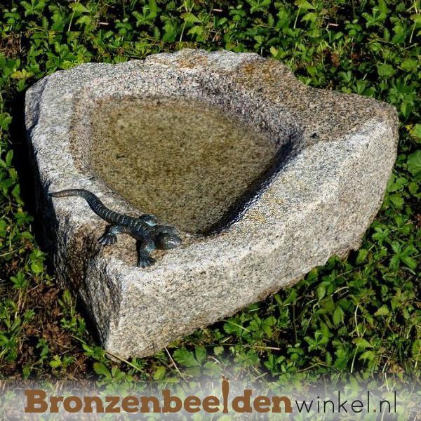 Vogeldrinkschaal natuursteen met hagedis BBWR994348