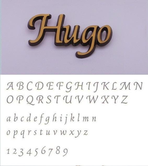 Bronskleurige aluminium letters Hugo