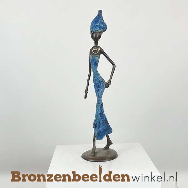 """Afrikaans beeld """"Energiek"""" 35 cm BBW009br52"""