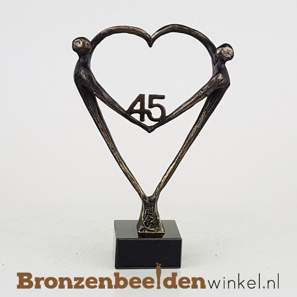 """TOP cadeau 45 jaar getrouwd """"Het Hart"""" met 45 BBW003br67"""