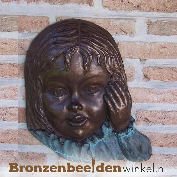 """Wanddecoratie brons """"Meisjesgezicht"""" BBW0851br"""