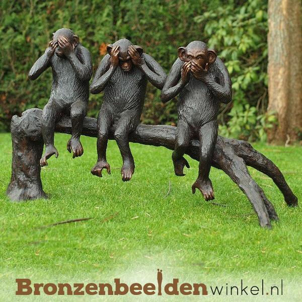 """Bronzen apen beeld """"Horen, zien en zwijgen"""" BBW94614"""