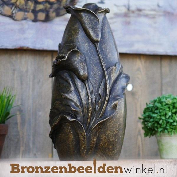 Bronzen urn met bloemen BBW0611br