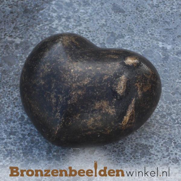 Bronzen asbeeldje hartvorm met tranen BBW0365BR