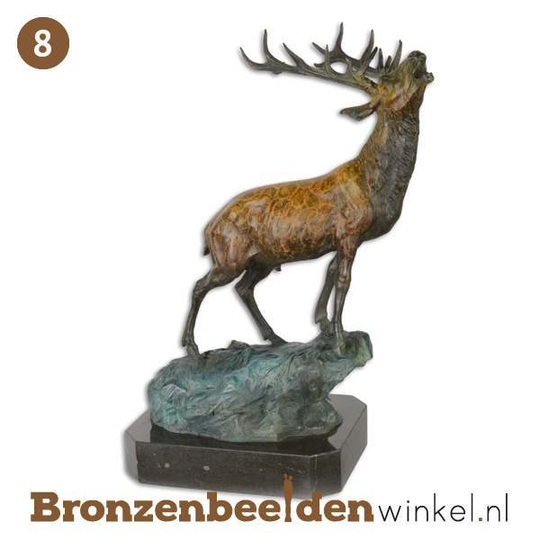 NR 8   Cadeau man 90 jaar ''Bronzen hert op rots'' BBWYC7