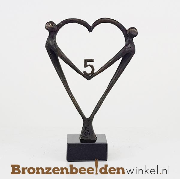 """TOP cadeau 5 jaar getrouwd """"Het Hart"""" met 5 BBW003br67j"""