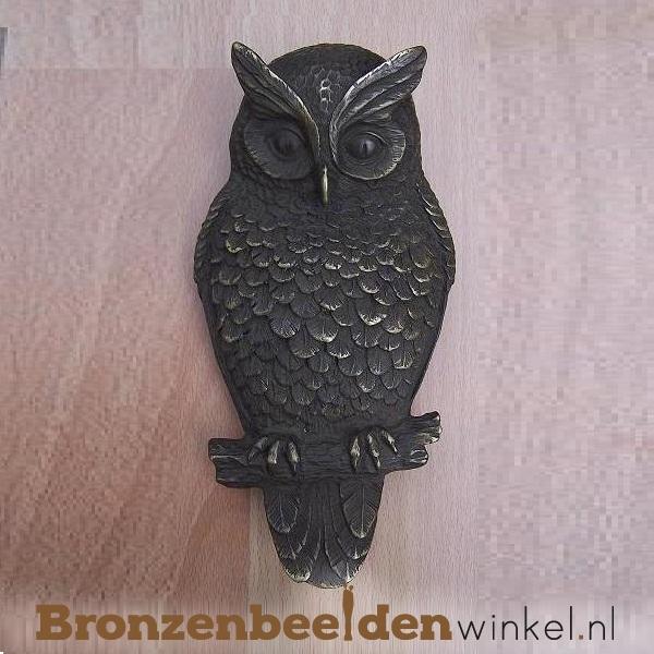 """Muurdecoratie brons """"Uil"""" BBW0152"""