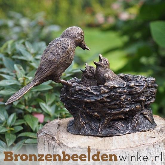 Bronzen vogel met nestje BBW0396br