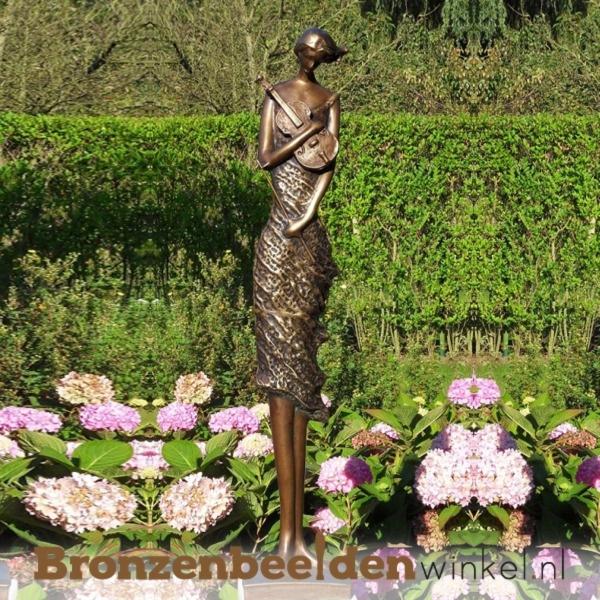 Beeld violiste brons tuinbeeld BBW1719brb