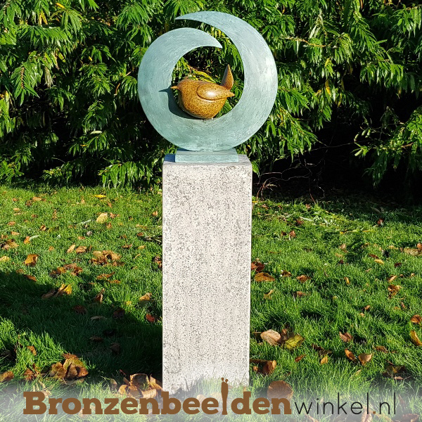 "Abstract tuinbeeld ""Vogel in cirkel"" BBW2673br"