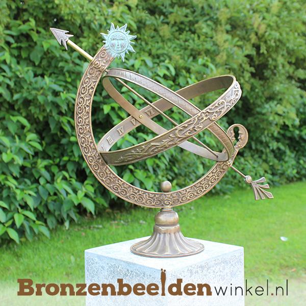 """Bronzen zonnewijzer """"zon en maan"""" BBW0471br"""