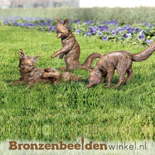 Bronzen beeld vosjes BBW37987