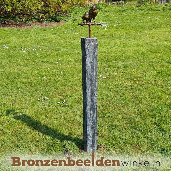 Tuinbeeld vogel moeder met 1 jonkie op sokkel BBWM1KOS