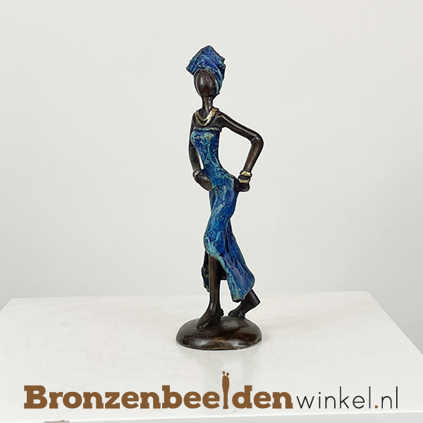"""Afrikaans beeld """"Afua"""" 16 cm BBW009br43"""