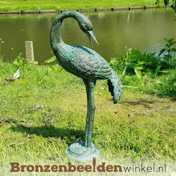 Bronzen kraanvogel, kraanvogel beeld