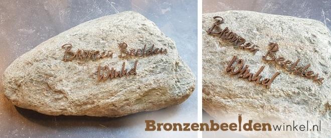 bronzen letters grafsteen zwerfkei