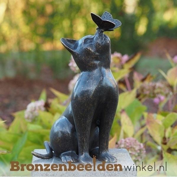 beeld kat, bronzen kat