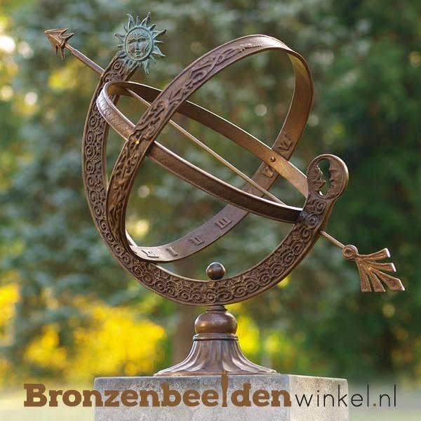 bronzen zonnewijzer, zonnewijzer tuinbeeld