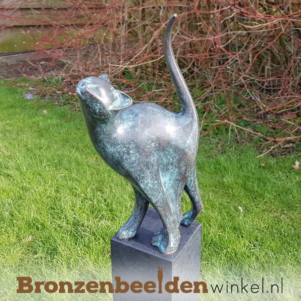 bronzen kat, tuinbeeld kat