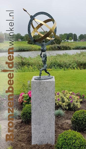 tuinbeeld zonnewijzer, zonnewijzer brons