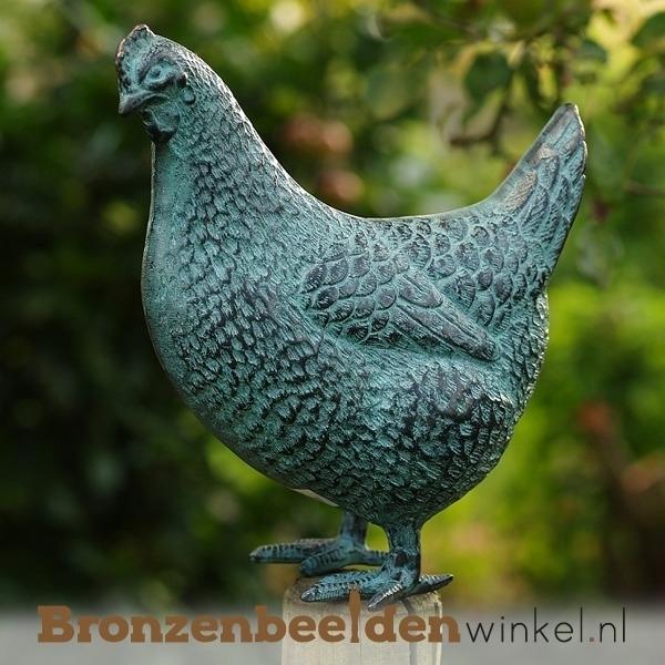 bronzen kip, beeld kip