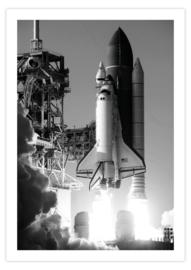 Poster van een opstijgende raket
