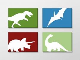 Canvas vierluik dinosaurus