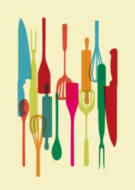 Retro keukengerei poster