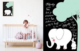 Babykamer poster Olifantje in het bos