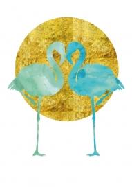 Poster twee Flamingo's mint aquarel