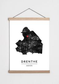 Poster plattegrond Drenthe