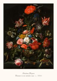Abraham Mignon - Bloemen in een metalen vaas