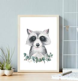 Poster met wasbeer