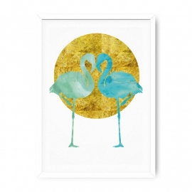 Poster twee Flamingo's mint aquarel