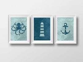 Poster set octopus, vuurtoren en anker