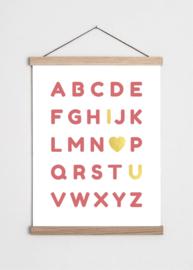 Poster Alfabet oud roze met gouden accenten