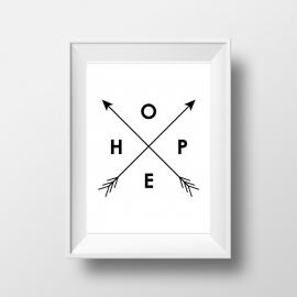 Trendy poster met pijlen en tekst HOPE
