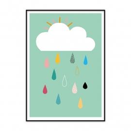 Poster wolk met regendruppels