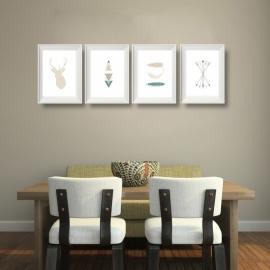 Vier posters aztec native groen collectie