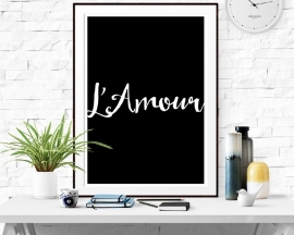 Poster met tekst L' Amour