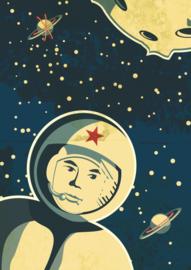 Stoere poster van een raket in de ruimte