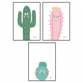 Posterset familie cactus