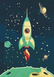 Stoere poster met ruimteraket