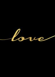 Trendy poster gouden tekst love