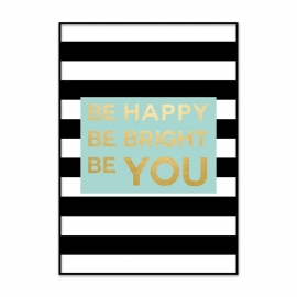 Poster Be Happy met goud