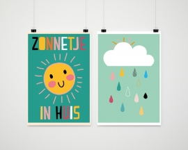 Lieve poster zonnetje in huis