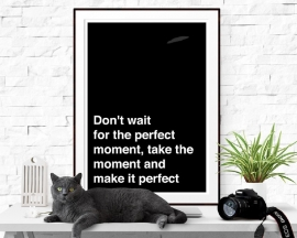Citaat poster Don't wait for the perfect moment