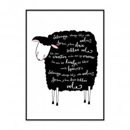 Poster Schaapje, schaapje heb je witte wol